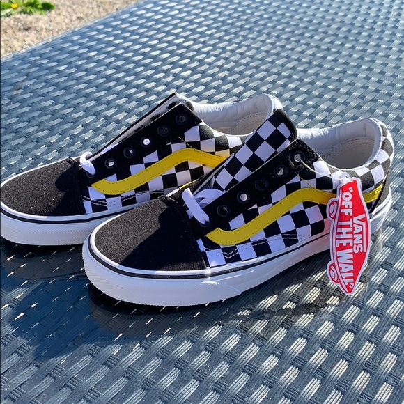 NEW Checkered Vans with Yellow Stripe Detail NWT